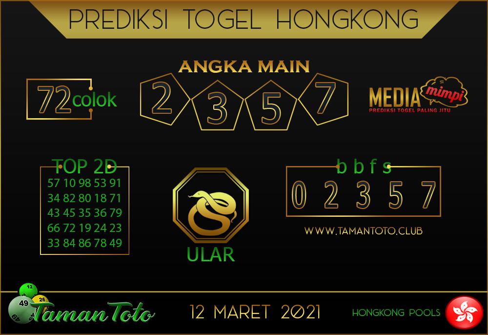 Prediksi Togel HONGKONG TAMAN TOTO 12 MARET 2021