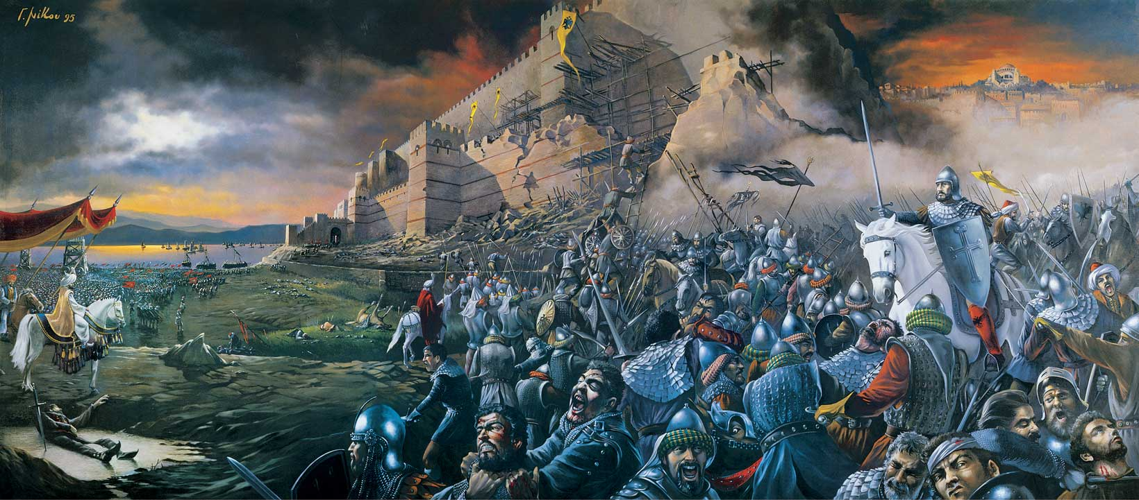 The fall of the city took place on 29 May 1453, the culmination of a 53-day siege which had begun on 6 April 1453.