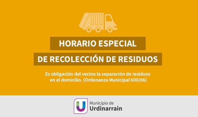 Locales: RECOLECCIÓN DE RESIDUOS FIN DE SEMANA LARGO EN URDINARRAIN