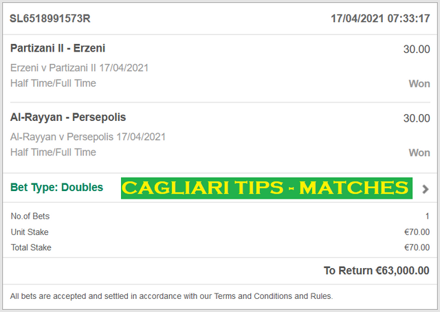 Official DOUBLE HT / FT FOR CAGLIARI TIPS | BEST HT / FT FIXED MATCHES