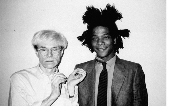 Jean-Michel-Basquiat-and-Andy-Warhol-at-The-Factory-at-860-Broadway-on-October-12-1982-Photo-by-Chri