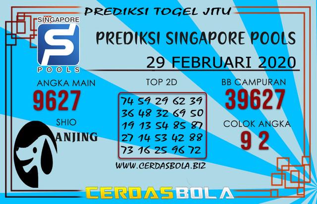 Prediksi Togel SINGAPORE CERDASBOLA 29 FEBRUARI 2020