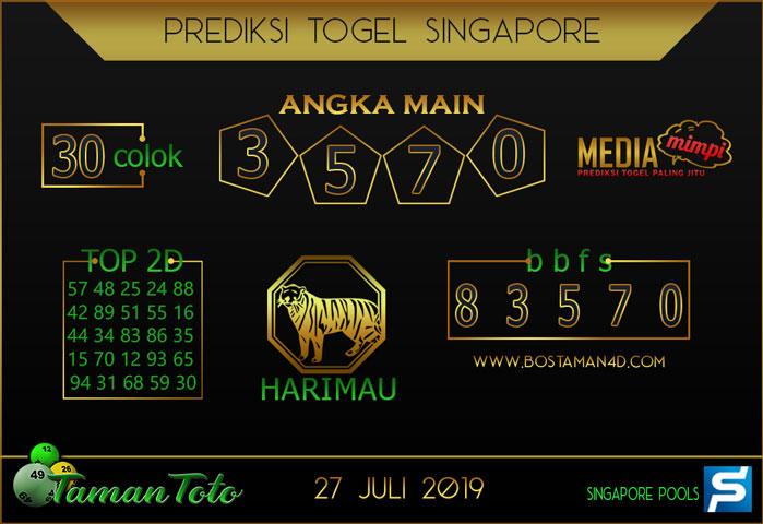 Prediksi Togel SINGAPORE TAMAN TOTO 27 JULI 2019