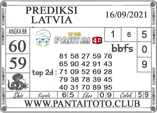PREDIKSI TOGEL LATVIA PANTAI4D 16 SEPTEMBER 2021