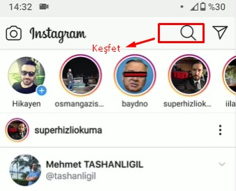 instagram keşfet nerede