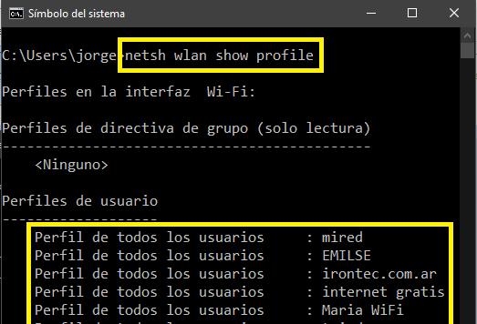 accediendo a perfiles wifi desde consola cmd o simbolo de sistema