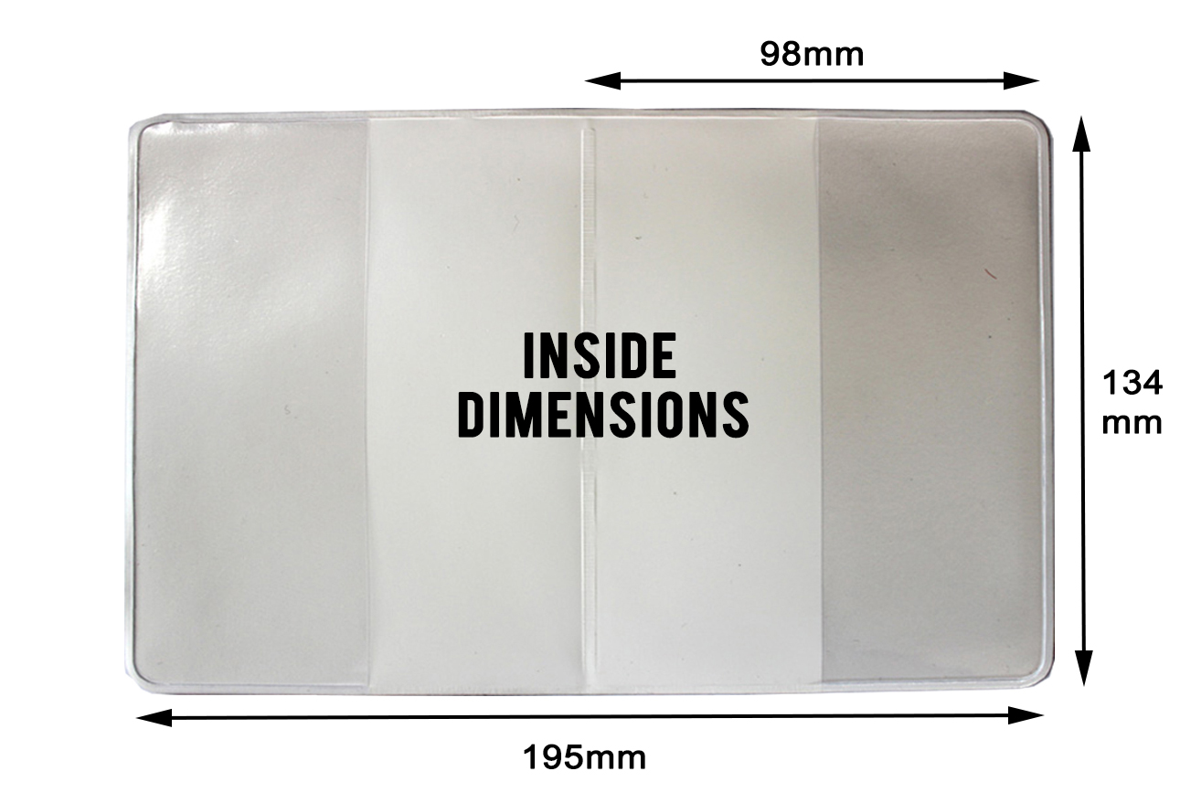 Passport Cover inside with dimensions