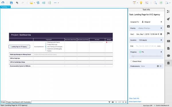 Task Info Panel in XMind 8.