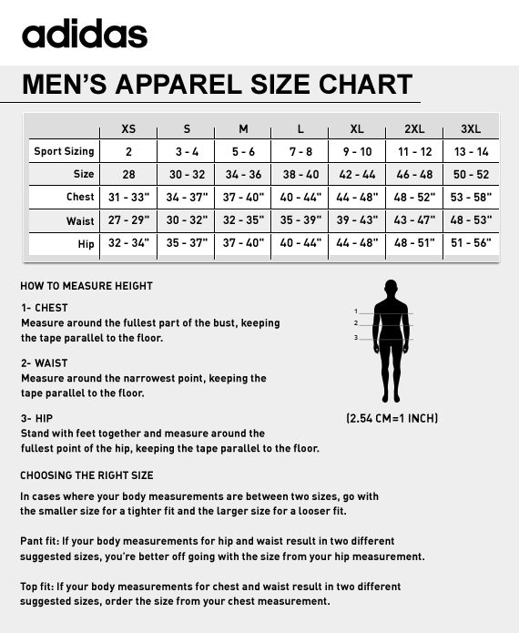 adidas mens joggers size guide