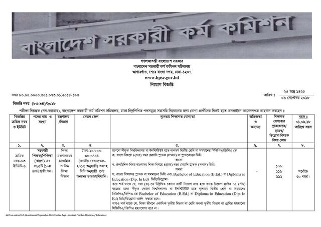 BPSC Assistant Teacher Job Circular page 001