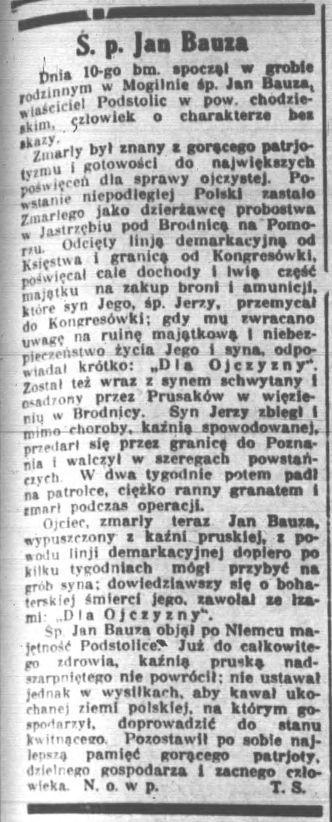 jan-bauza-nekrolog-kurier-poznanski-1929-nr-427