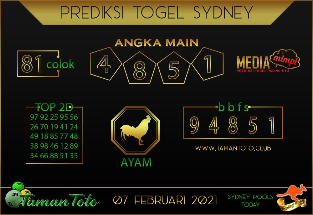 Prediksi Togel SYDNEY TAMAN TOTO 07 FEBRUARI 2021