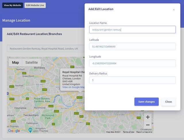 setup location in bookmyorder online food ordering system