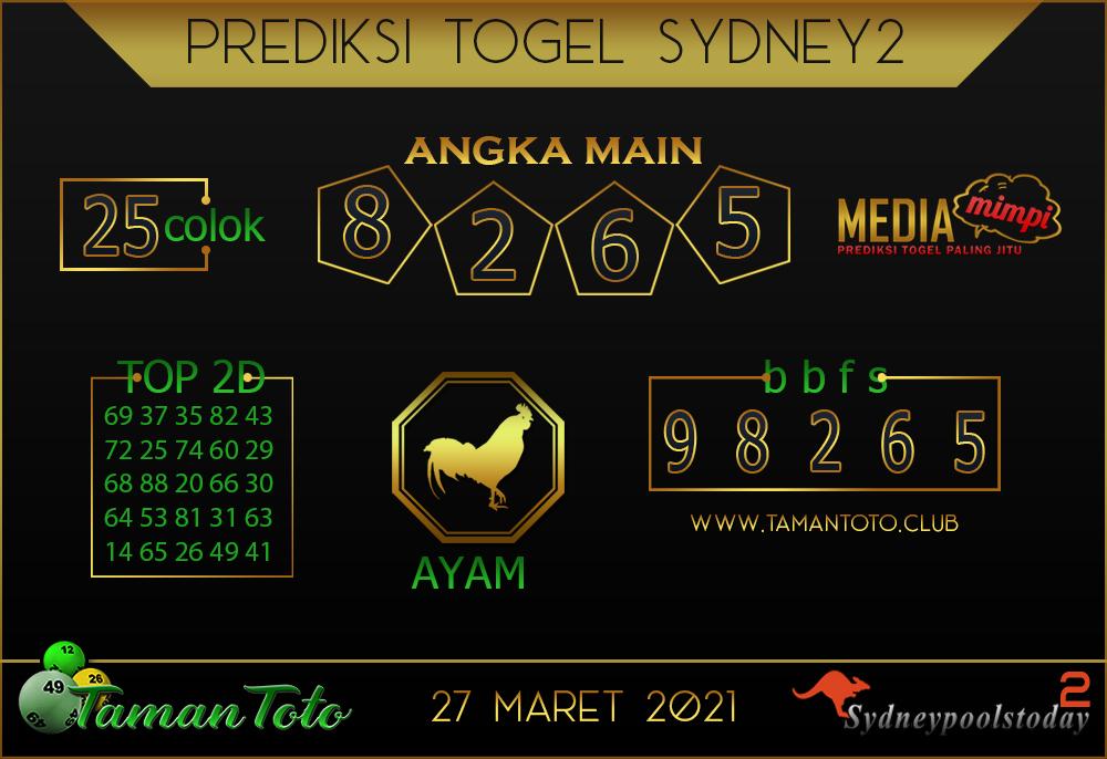 Prediksi Togel SYDNEY 2 TAMAN TOTO 27 MARET 2021