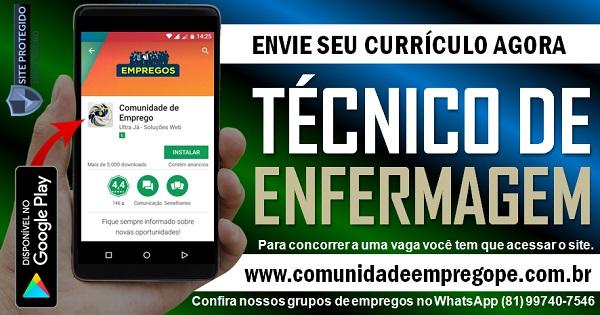 TÉCNICO DE ENFERMAGEM COM SALÁRIO DE R$ 1130,00 PARA EMPRESA DE EDUCAÇÃO