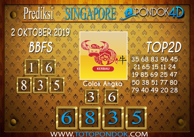 Prediksi Togel SINGAPORE PONDOK4D 2 OKTOBER 2019