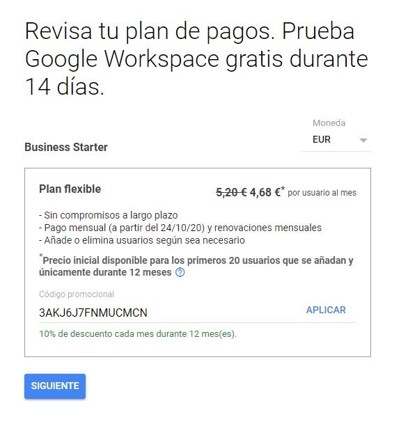 Codigo promocional Google Workspace