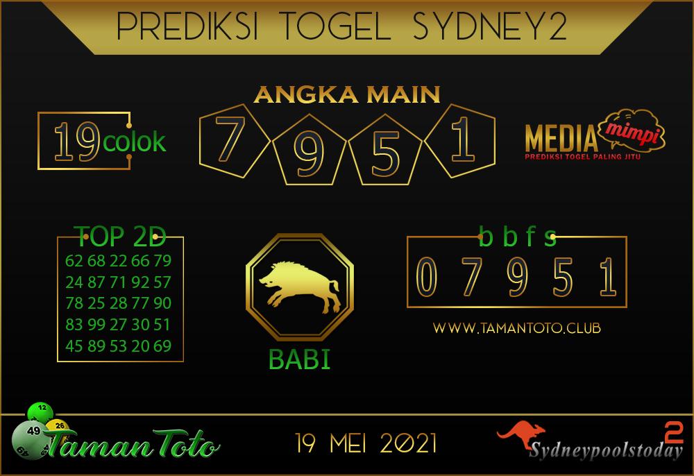 Prediksi Togel SYDNEY 2 TAMAN TOTO 19 MEI 2021
