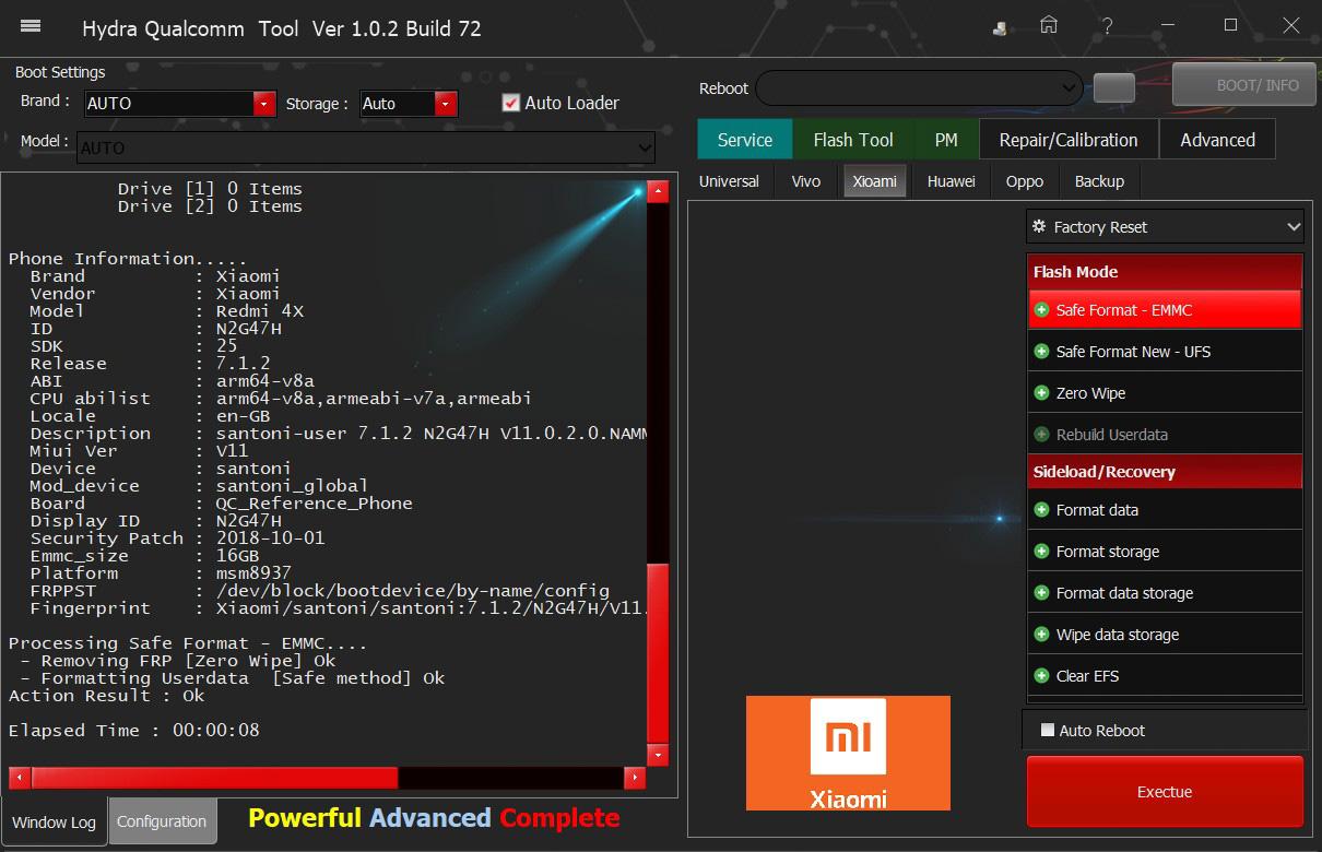 Xiaomi Redmi 4x FRP Zero Wipe successfully done by Hydra Tool