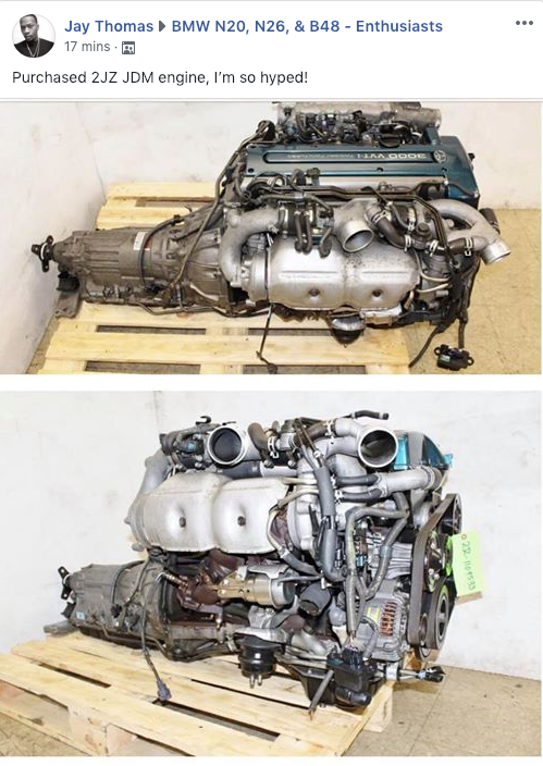 Someone is swapping a 2JZ into their F30 328i