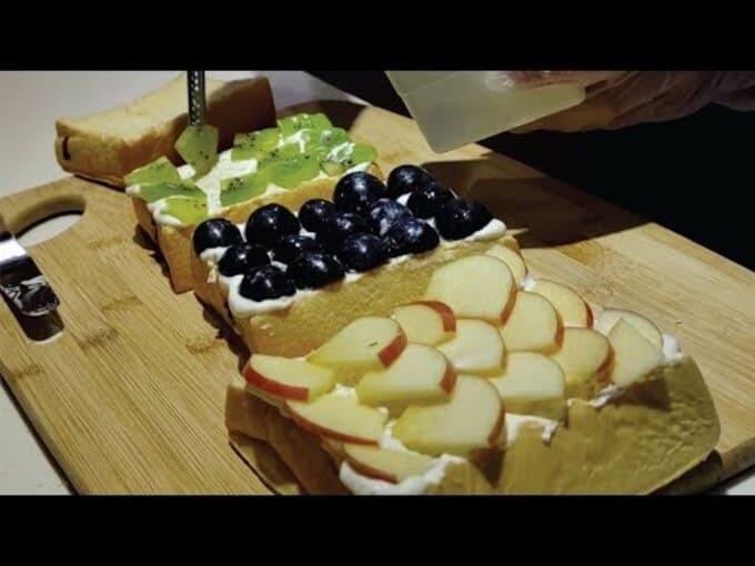taiwan, toast au fruit, bistro,nourriture