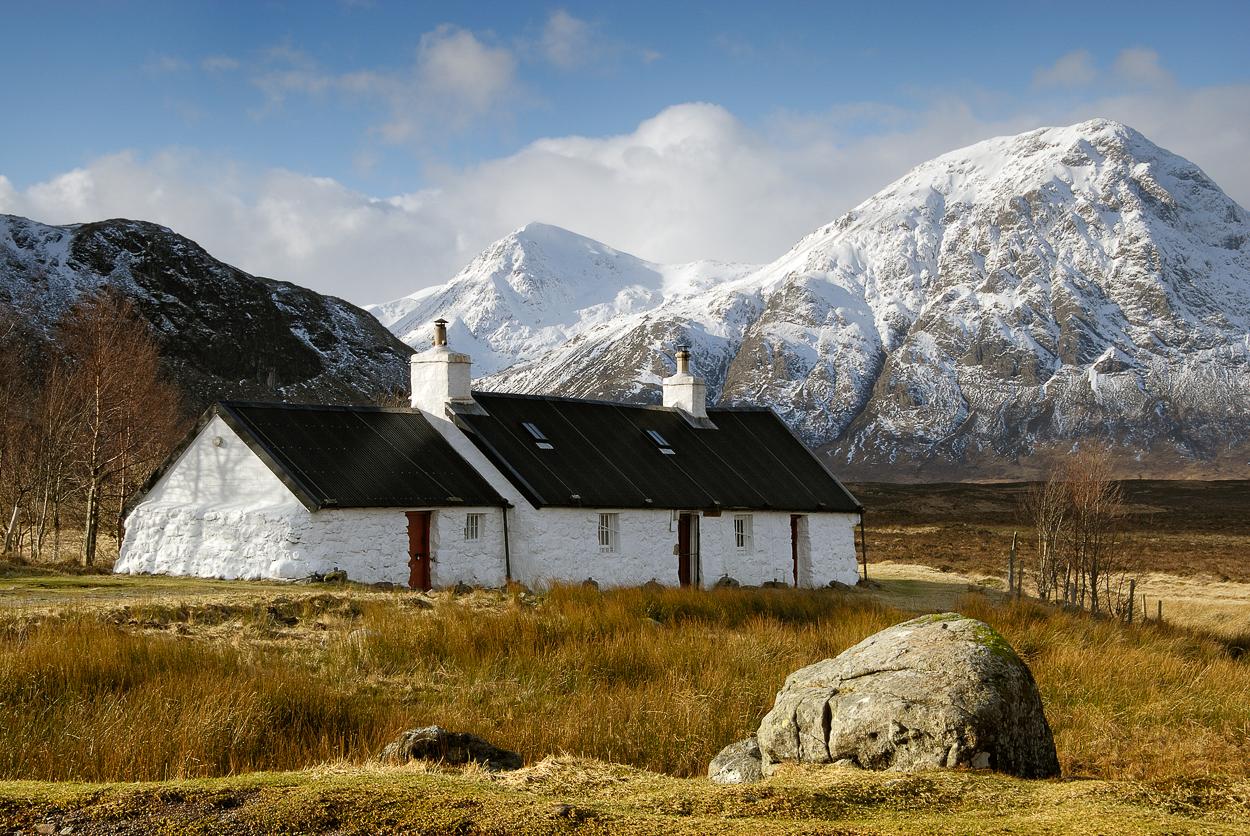 White Cottage Glencoe Scotland in Winter
