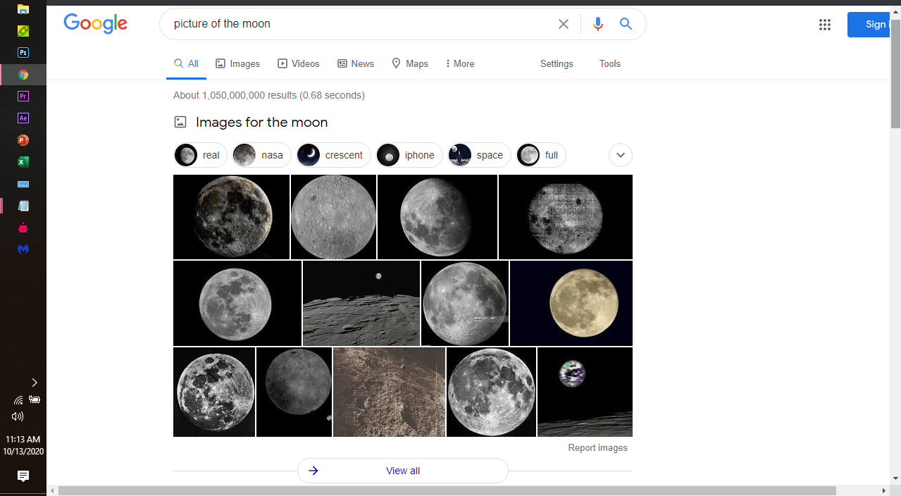 Is an image example of an image search result pack.