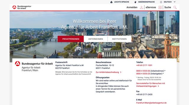 Webseite www.arbeitsagentur.de/vor-ort/frankfurt-am-main