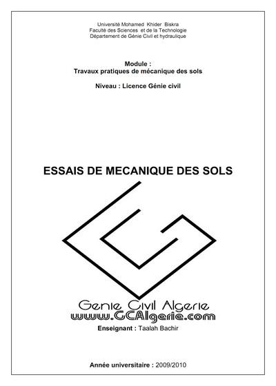 Travaux pratiques de mécanique des sols