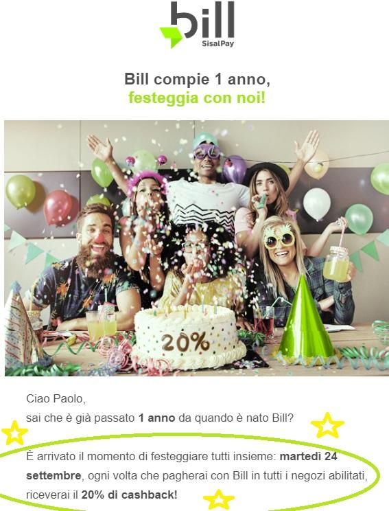 Bill SisalPay Bill (App italiana di SisalPay) €5,00 subito + €5,00 se invitato + €5,00 ogni invito [scadenza 31/07/2021] - Pagina 3 Compleanno1-Bill
