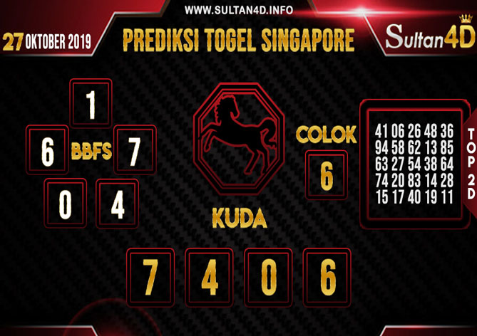 PREDIKSI TOGEL SINGAPORE SULTAN4D 27 OKTOBER 2019