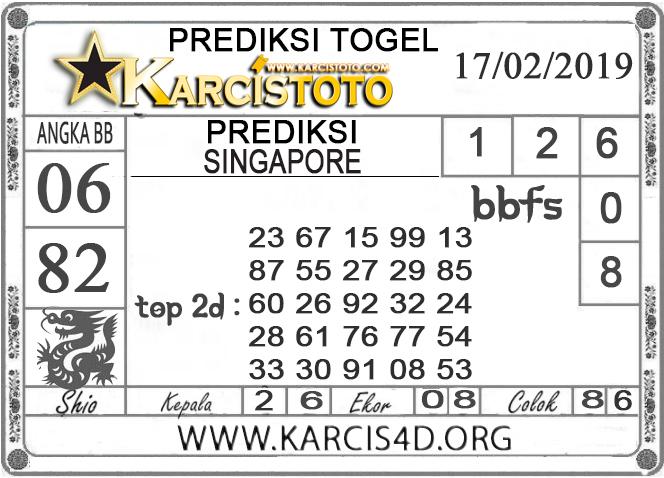 Prediksi Togel SINGAPORE KARCISTOTO 17 FEBRUARI 2019