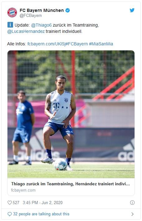 FCB: ტიაგო ალკანტარამ ვარჯიში განაახლა