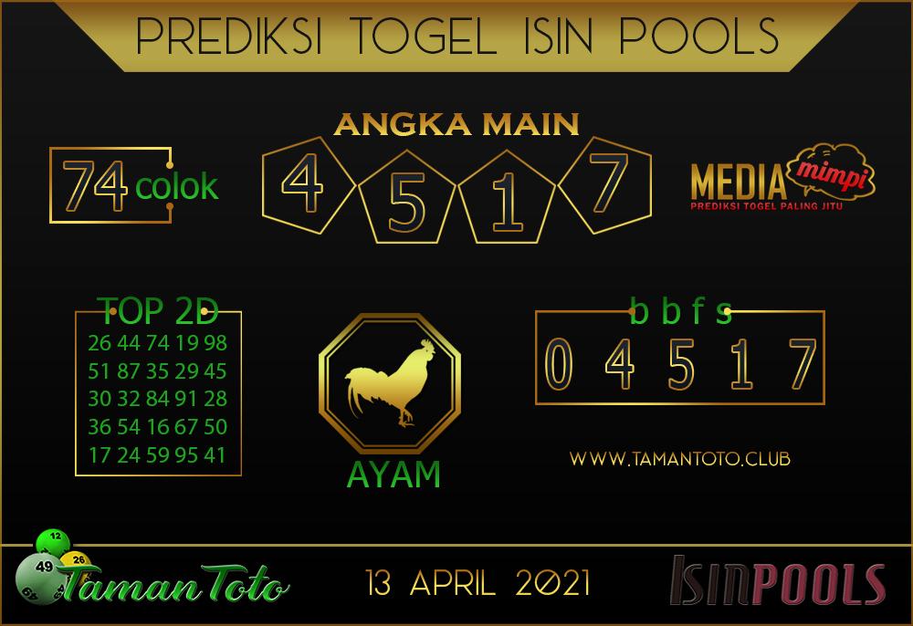 Prediksi Togel ISIN TAMAN TOTO 13 APRIL 2021