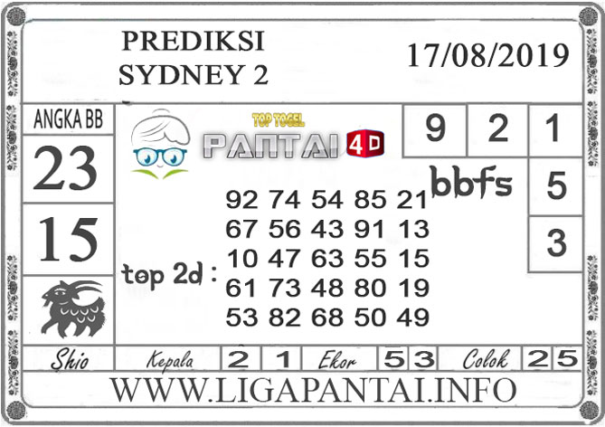 "PREDIKSI TOGEL ""SYDNEY 2"" PANTAI4D 17 AGUSTUS 2019"