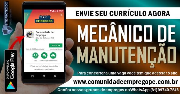MECÂNICO DE MANUTENÇÃO PARA EMPRESA DE GESTÃO DE SERVIÇOS NO RECIFE