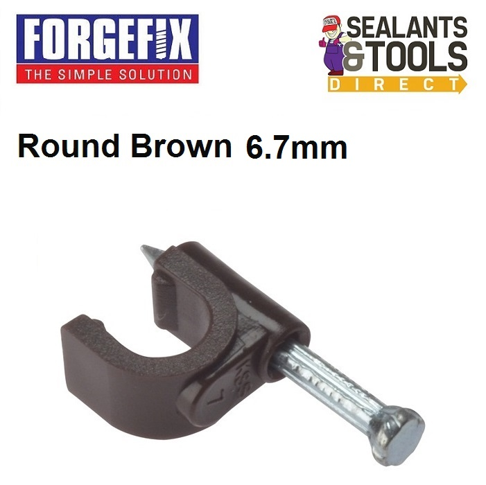 Forgefix-brown-cable-clips-6-7mm-Coax-cable-clips-box-of-100-2