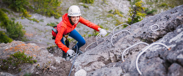Learn alpine climbing on the mount norquay via ferrata explorer route 216