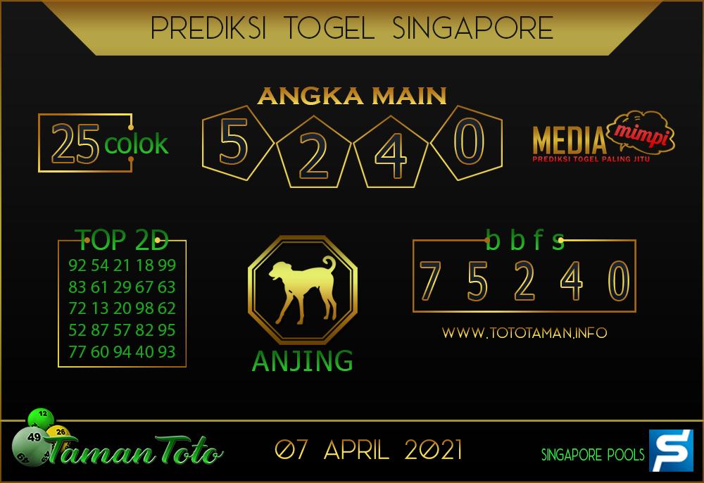 Prediksi Togel SINGAPORE TAMAN TOTO 07 APRIL 2021