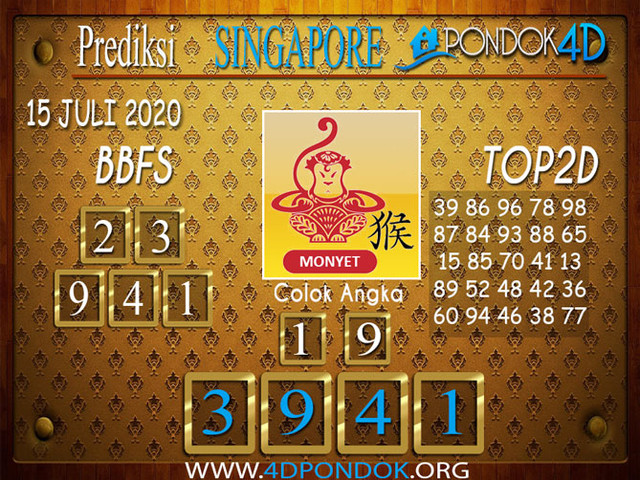 Prediksi Togel SINGAPORE PONDOK4D 15 JULI 2020