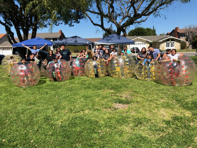 Group Photo of Clients who used our Bubble Soccer Rental in Fountain Valley, Orange County on March 16th of 2019.