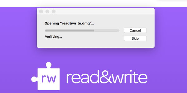 Grey installation window showing progress of Read&Write install