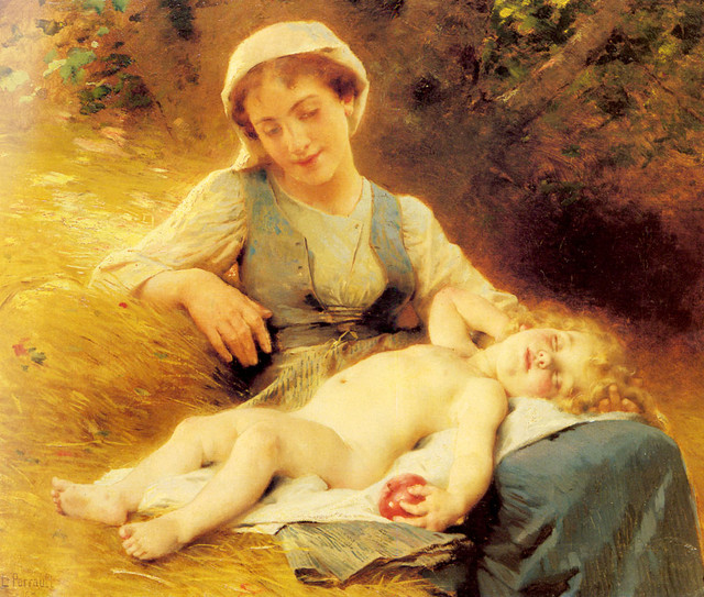Perrault-Leon-Jean-basile-A-Mother-With-Her-Sleeping-Child