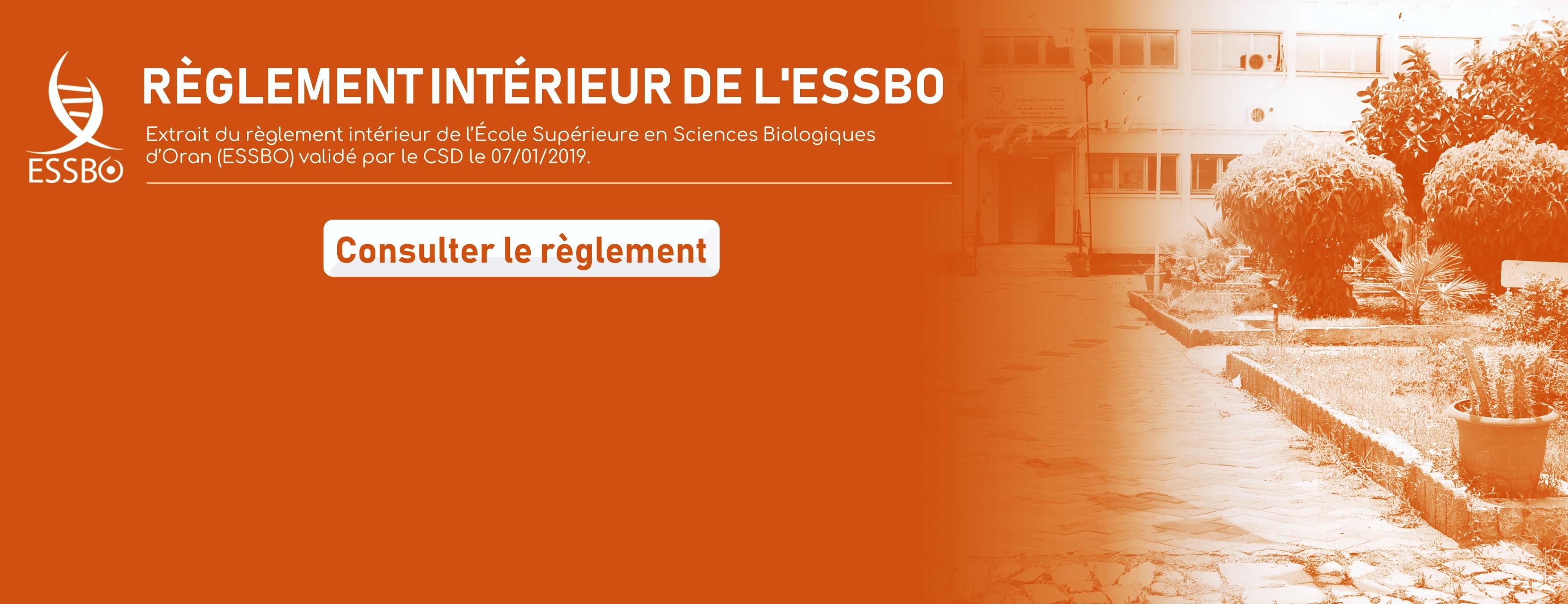 Règlement intérieur de l'ESSBO