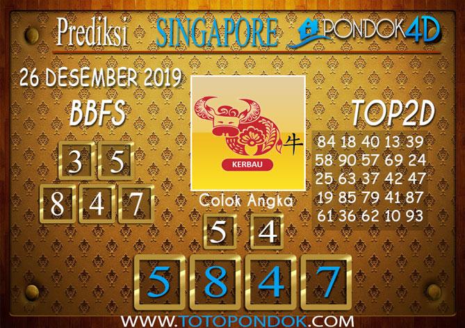 Prediksi Togel SINGAPORE PONDOK4D 26 DESEMBER 2019
