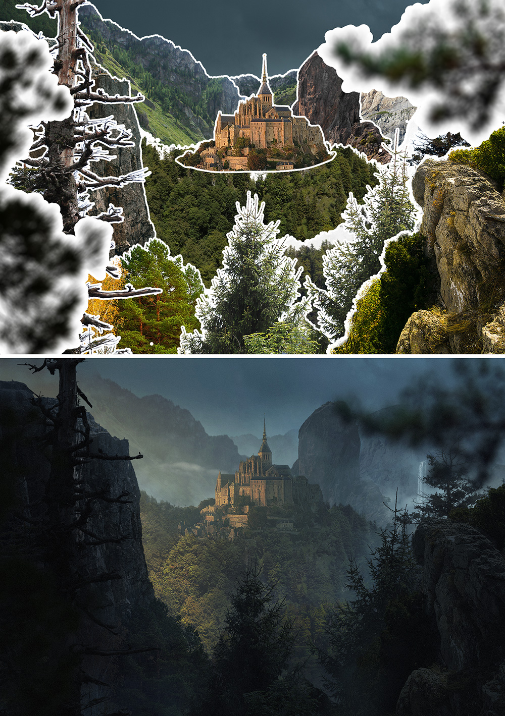 before and after 10 digital landscapes photoshop video training