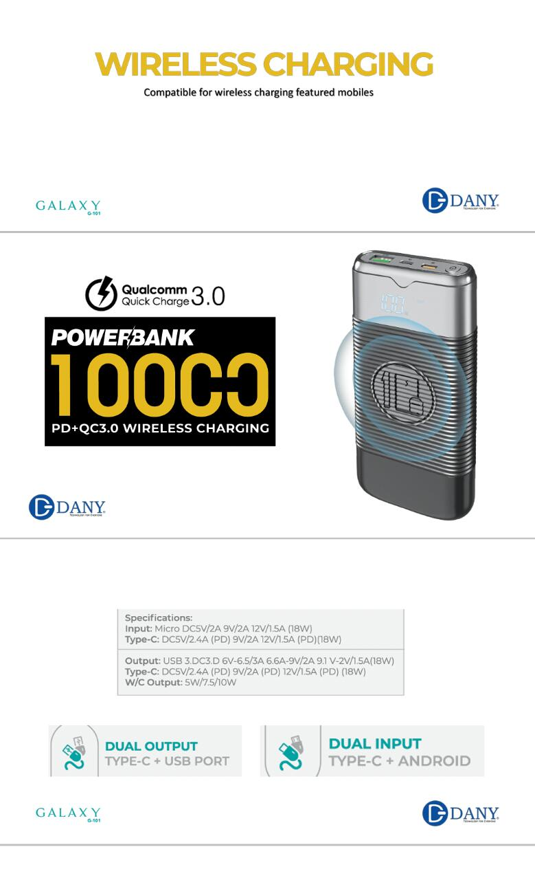 Dany Galaxy G101 Fast Charging Wireless Powerbank
