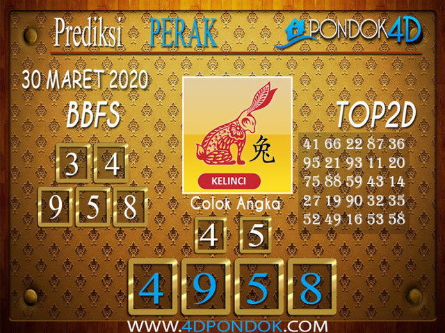 Prediksi Togel PERAK PONDOK4D 30 MARET 2020