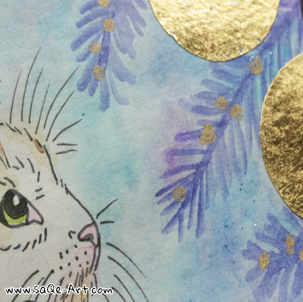 Gold foil cat  - SaQe-Art.com