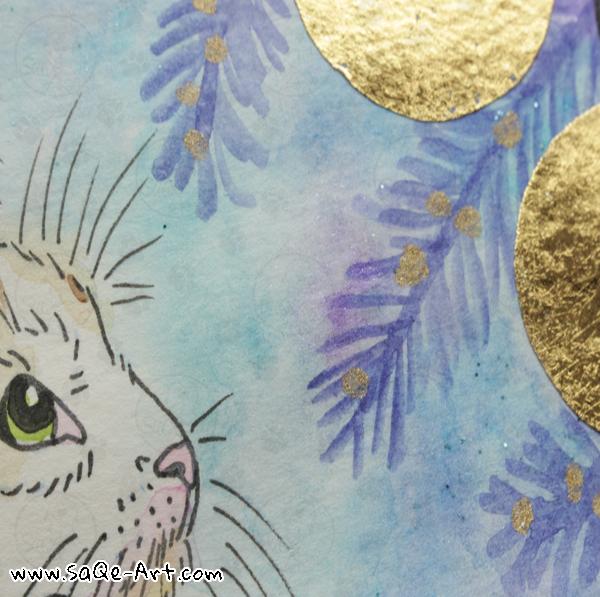 Gold foil cat  - SaQe-Art.com